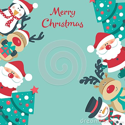 Christmas card with Santa, tree. snowman, deer and penguin., Stock Photo