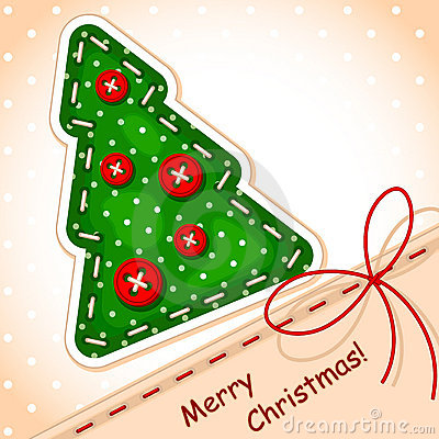 Free Christmas Card. Sewing Christmas Tree Royalty Free Stock Images - 21671069