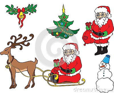 Christmas card with Sledge and Santa Claus