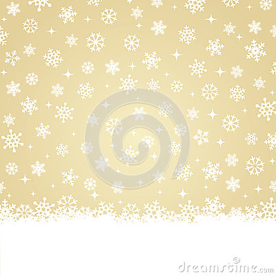 Christmas card - Snow on gold background
