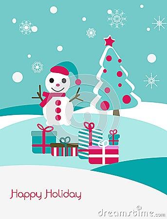 Christmas card with snowman and fir