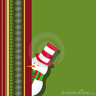 Christmas card with snowman hiding