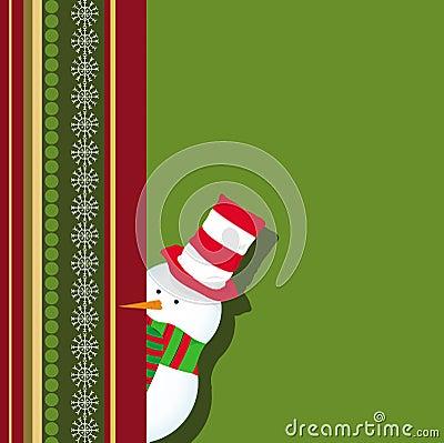 Christmas card with snowman hiding