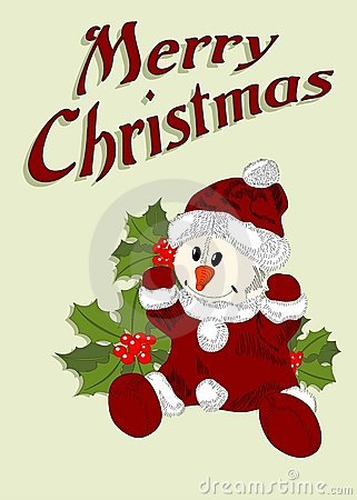 Christmas card with snowman in santa claus dress