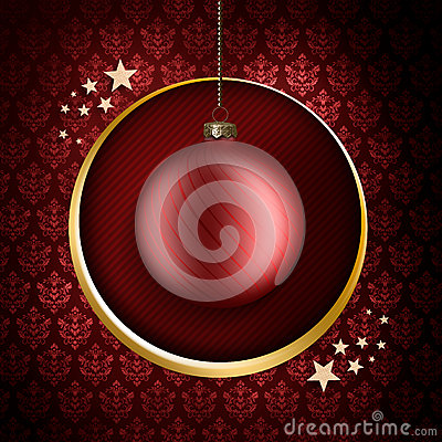Christmas card template - red bauble and stars