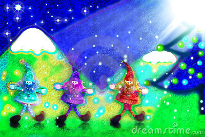 Christmas card, three santa s elves in the forest