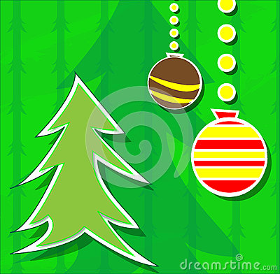 Christmas card with tree and balls