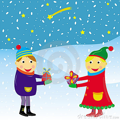 Christmas card vector funny kids