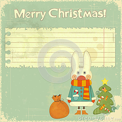 Christmas card with white hare