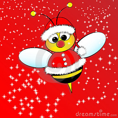 Free Christmas Card With A Bee Stock Images - 11683664