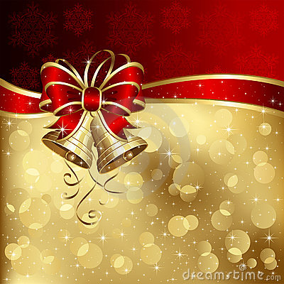 Free Christmas Card With Bells And Bow Stock Photos - 22210833