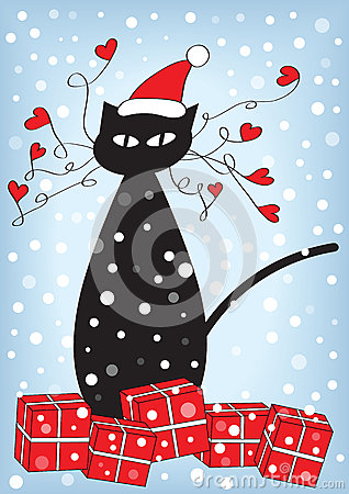 Free Christmas Card With Cat And Presents Stock Photo - 60376050