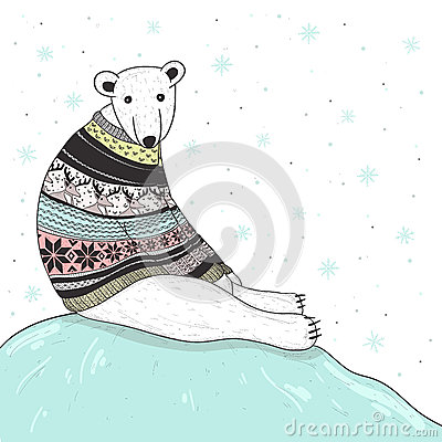Free Christmas Card With Cute Polar Bear Stock Photography - 27737742