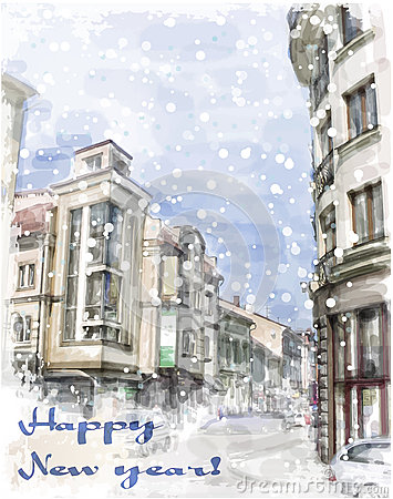 Free Christmas Card  With Illustration Of City Street. Stock Image - 45722871