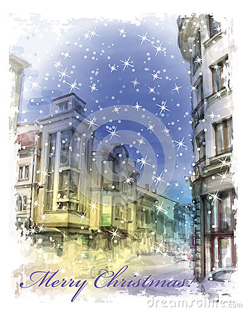 Free Christmas Card  With Illustration Of City Street.  Watercolor St Stock Photo - 48132920
