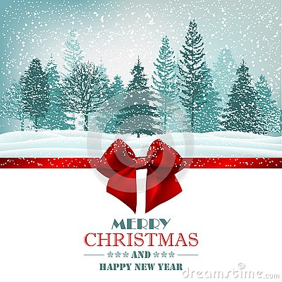 Free Christmas Card With Red Ribbon Bow And Forest. Vector Stock Image - 127417061