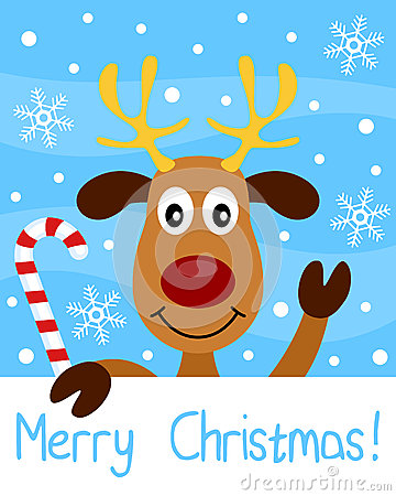 Free Christmas Card With Reindeer Royalty Free Stock Photography - 26988857