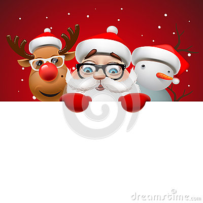 Free Christmas Card With Santa Claus ,deer And Snowman Stock Images - 62076974