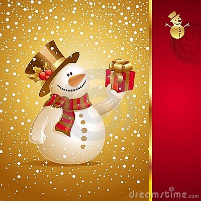 Free Christmas Card With Smiling Snowman Royalty Free Stock Photos - 11297418
