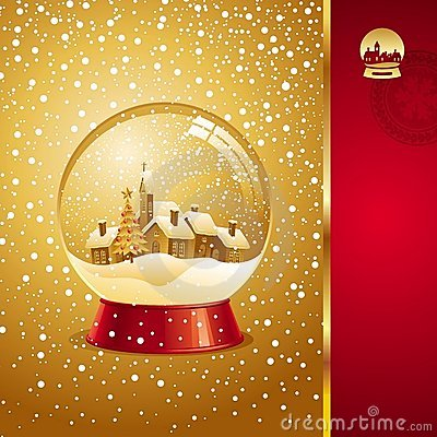 Free Christmas Card With Snow Globe Stock Images - 11297444