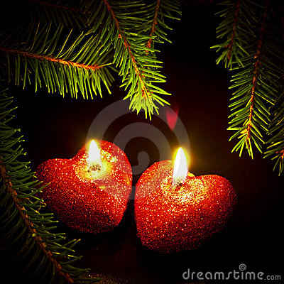 Free Christmas Card With Two Candles Royalty Free Stock Photography - 17185427