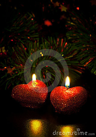 Free Christmas Card With Two Candles Royalty Free Stock Photos - 17185428