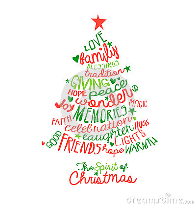 Free Christmas Card Word Cloud Tree Design Royalty Free Stock Image - 46279396