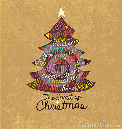 Free Christmas Card Word Cloud Tree Design Royalty Free Stock Photos - 46279398