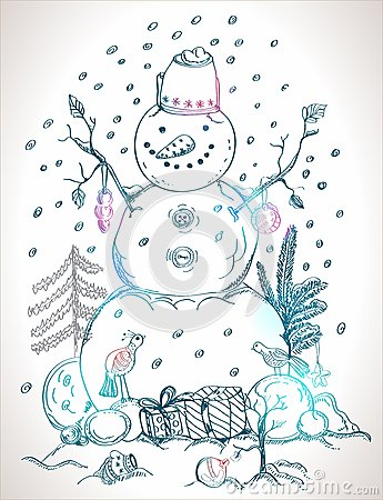 Christmas card for xmas design hand drawn snowman