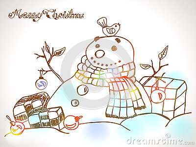 Christmas Card for xmas design with hand drawn snowman