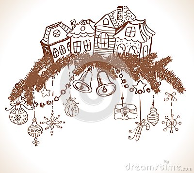 Christmas card for xmas design with houses