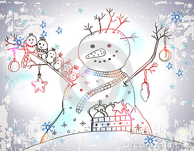 Christmas Card for xmas design with Snowman