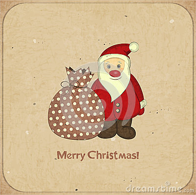 Christmas cards with cartoon Santa and gift