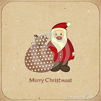 Christmas cards with cartoon Santa and gift