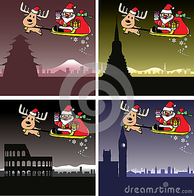 Christmas cards, Santa and deer travel