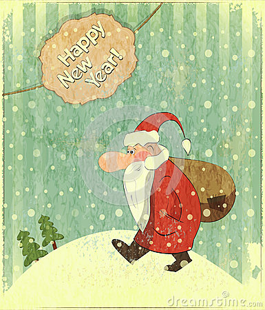 Christmas cards with Santa and text Happy New Year