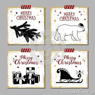 Free Christmas Cards Set. Stock Photos - 63313603