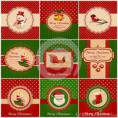 Free Christmas Cards. Vector Illustration. Stock Photography - 35596362