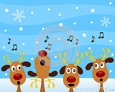 Christmas Carols on Christmas Carol With Reindeer Royalty Free Stock Photo   Image