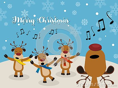 Christmas Carol with Reindeer Stock Photo