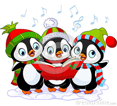 Free Christmas Carolers Penguins Stock Image - 35394961