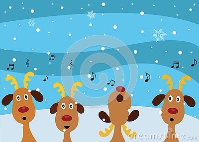 Christmas Carols by Reindeers Vector Illustration