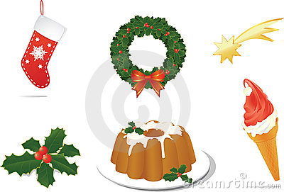 Christmas celebration objects for print, site