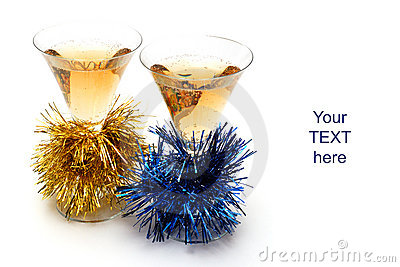 Christmas champagne and Christmas-tree decorations