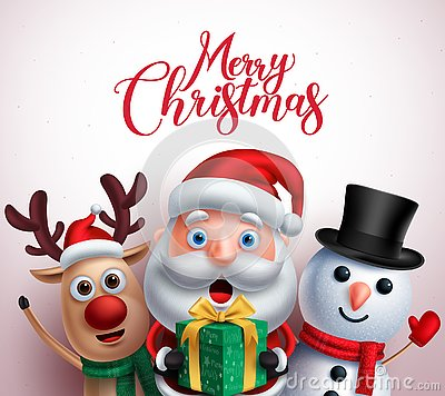 Free Christmas Characters Like Santa Claus,reindeer And Snowman Holding Gift Royalty Free Stock Photos - 127090098
