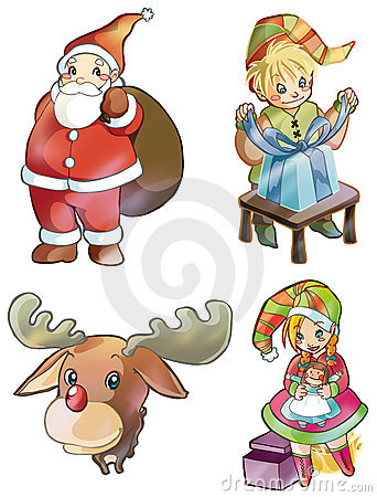 Christmas characters: Santa Claus, Rudolph, elves