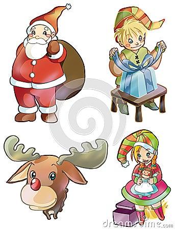 Christmas characters: Santa Claus, Rudolph, elves