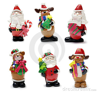 Free Christmas Characters Set Royalty Free Stock Images - 7382209