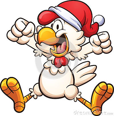 Happy chicken with a Christmas hat. Vector clip art illustration with ...