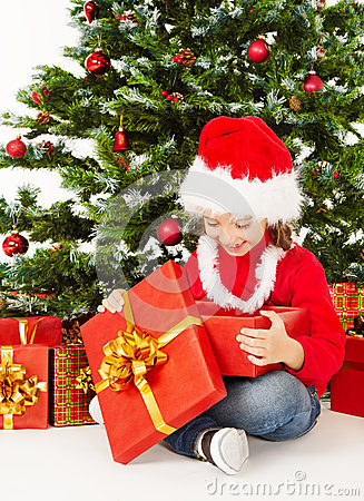 Free Christmas Child In Santa Hat, Kid Open Gift Box Present, Xmas Tree Royalty Free Stock Images - 46506099